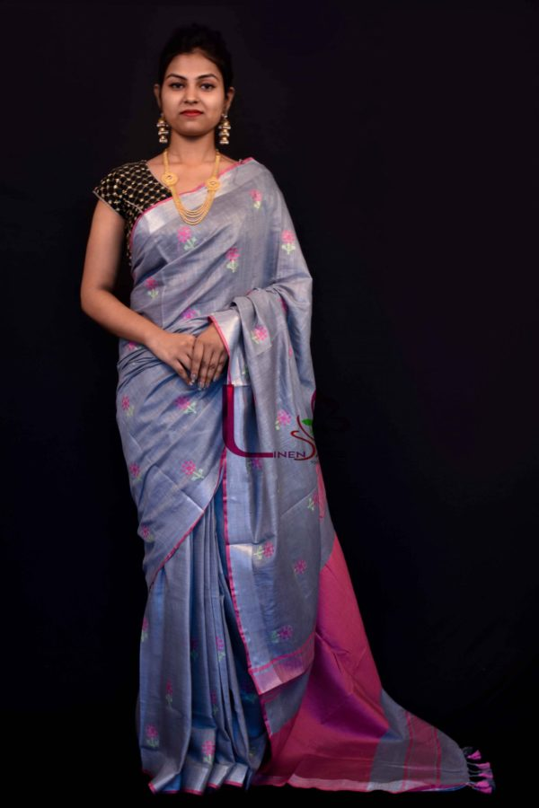 EMBROIDERY LINEN SAREE