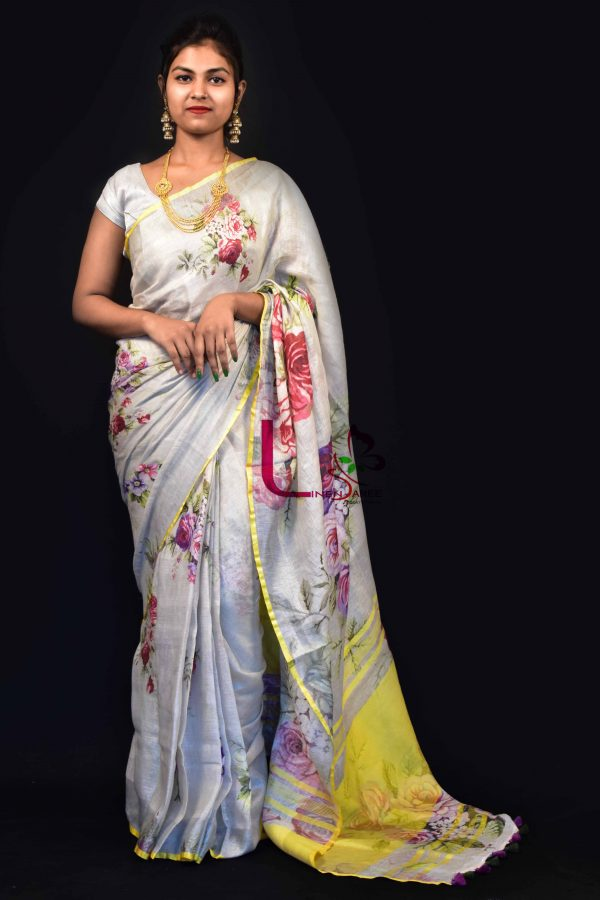 LINEN DIGITAL PRINTED SAREE